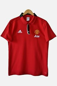 Adidas Manchester United 3 Stripes Polo TShirt Red Size L