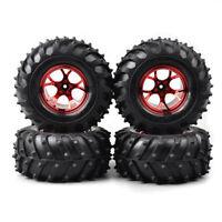 4pcs caoutchouc Bigfoot pneus pneu rouge jante 1/10 Monster Truck voiture