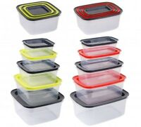 SET OF 5 PLASTIC FOOD CONTAINERS FOOD STORAGE KITCHEN TRAVEL WORK  LUNCHBOX