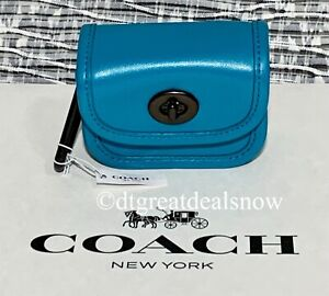 NWT Coach Heritage Turnlock Bag Charm Vivid Turquoise Leather C3163