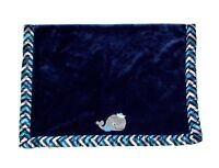 "Bananafish Studio Navy Blue Whale Baby Blanket Chevron Satin Trim 30""x40"" Lovey"