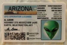 Alien A Leon State of Arizona MAGNET Drivers License Novelty ID UFO Roswell