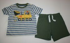 New Carter's 24m Boys 2 Piece Set Bulldozer Truck Money Top & Shorts Outfit