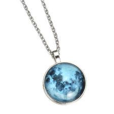 Fluorescent Rising Moon Glow Stone Pendant Necklace Glow In Dark Luminous Chain