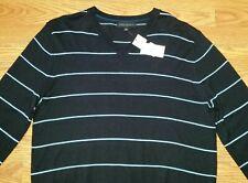 Banana Republic Long Sleeve Shirt (M) Black w/ Light Blue Stripes, V Neck, New