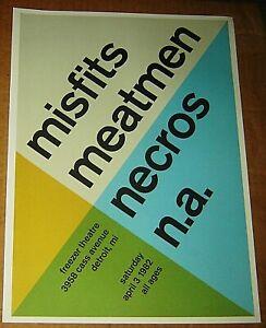 MISFITS MEATMEN NECROS NA ROCK CONCERT POSTER SWISS PUNK GRAPHIC POP ART DETROIT