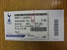 01/02/2012 Ticket: Tottenham Hotpsur U19 v Liverpool U19 [NextGen Series] . Than