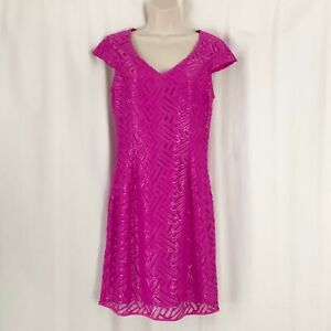 Lilly Pulitzer 6 Small Selassie Metallic Lace Sheath Dress Fuchsia Purple $258