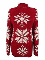 American Rag Womens $90 NWT Winter Holiday Snowflake Pullover Tunic Sweater, Red