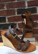 $200 ASH Tatiana Platform Brown Leather Wood Wedge Strap Sandals 36 6 RARE!