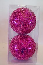 2 HOT PINK BEAD & SEQUIN 5 INCH UNUSUAL CHRISTMAS HOLIDAY ORNAMENTS DECORATION