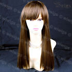 Silky Long Heat Resistant Straight Ladies Wigs Light Chestnut Brown WIWIGS UK