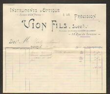 "PARIS (III°) INSTRUMENTS D'OPTIQUE & DE PRECISION ""VION Fils"" en 1903"