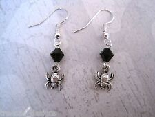 TINY SPIDER Jet Black Bead Gothic Silver Plated Drop Earrings Emo Halloween