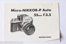Nikon Micro-Nikkor-P 55mm 1:3.5 Instruction Manual Book - English - USED M1