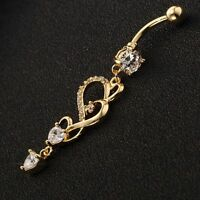 Bar Belly Button Ring For Women Heart Dangle Navel Jewelry Gold Body Piercing