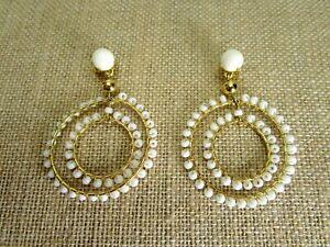 J Crew White Beaded Gold Tone Double Hoop Dangle Earrings