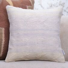 "White Cottage Decor Throw Pillow 16x16"" Embroidered Turkish Kilim Throw Free Shi"