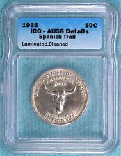 1935 AU-58 Details Planchet Error Rare Spanish Trail Commemorative Silver Half