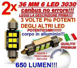 2X SILURO 36 MM 6 LED 3030 CANBUS NO ERRORE TARGA INTERNI C5W LAMPADE posta 1!!