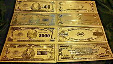 ~GOLD Banknote SET($100,000,$10000,$5000,$1000,$500)COLLECTIBLE BILLS FREE S&Hyz
