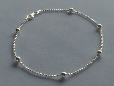 """Shimmery w/Round Beads Italy 925 10"""" Italian Sterling Silver Ankle Bracelet"""