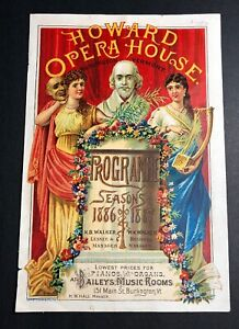 1886 87 Howard Opera House Theatre Program Cover Art Burlington Vermont