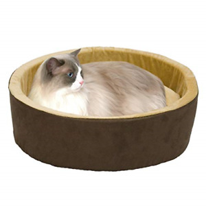 K&H PET PRODUCTS Thermo-Kitty Heated Cat Bed Large 20 Inches Mocha/Tan