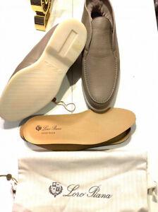 Loro Piana Loafers Shoes Size 43 Open Walk Deer Leather Fur New Men's