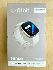 Fitbit Sense, Health & Fitness Smartwatch GPS Small Large FB512GLWT, Soft Gold
