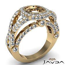 Cushion Diamond Engagement Ring Semi Mount 18k Yellow Gold Halo Bezel Set 1.45Ct