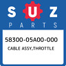 58300-05A00-000 Suzuki Cable assy,throttle 5830005A00000, New Genuine OEM Part