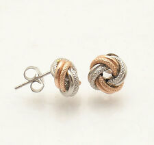 Italian Textured Love Knot Rosetta Stud Earrings Real 10K Rose Pink White Gold