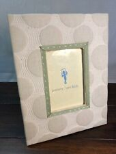 Pottery Barn - Natural w Green Trim Picture Frame Quilted Circles - Wall Or Desk