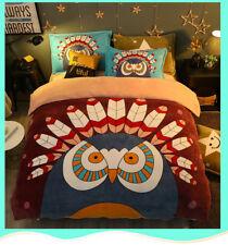 Full Queen Size Owl Cartoon 4-Piece Bed Sheet Set Warm Comfort Winter