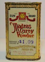 New Vintage 1960s MADRAS CURRY SUN GRAPHIC TIN LITHO SPICE TIN NY Bombay India