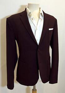 NEIL BARRETT Slim Fit Burgundy Wool Fitted Sports Jacket Blazer 40 RRP: £695.00