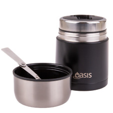600ml or 800ml Oasis Double Wall insulated S/S Food Flask thermos jar with spoon