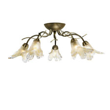 Searchlight 5495-5AB Lily Antique Brass 5 Light Semi-Flush Amber Frosted Glass