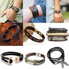 Modern Handmade Leather Bracelet Men's Braided Multi Layer Cuff Bangle Wristband