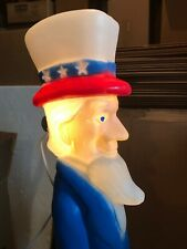 Blow Mold Uncle Sam Lighted Holding Flag Don Featherstone Union Products July 4