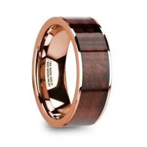 Rouvin Polished 14K Rose Gold Mens Wedding B Red Wood Inlay