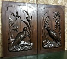 Pair black forest hunting panel Antique french carving architectural salvage
