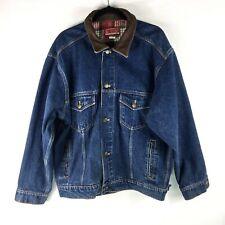 b54f5cd0642 Marlboro Country Store Denim Trucker Jacket Mens Sz XL Blue Jean Leather  Collar