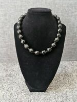 Vintage Black Faceted Glass Beaded Necklace Barrel Clasp Collar Length Retro
