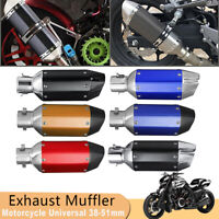 38-51mm Motorcycle Stainless Steel Short Exhaust Muffler Pipe Removable Silencer