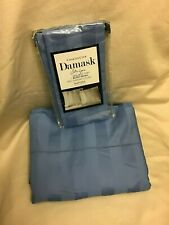 Charter Club QUEEN Flat Sheet & 1 Pillowcase Damask Stripe 550 TC Cornflower