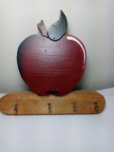 Vintage Wood Key Holder 4 Hooks Wall Mount Red Apple Signed Ava