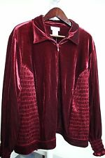Victor Costa Polyester Blend Burgundy Fully Zippered Jacket Size - 3X