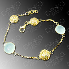 18K Gold 925 Sterling Silver Bracelet & Gemstones Natural Stone Aqua Chalcedony